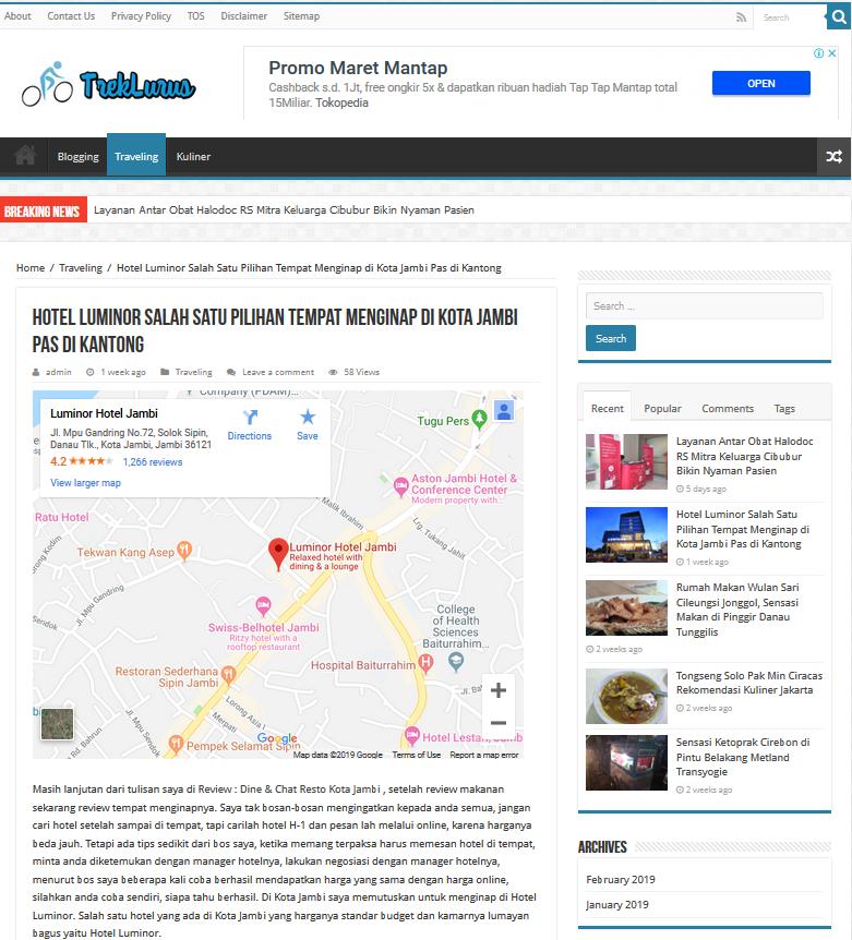 Contoh Tampilan Peta Google Map di WordPress