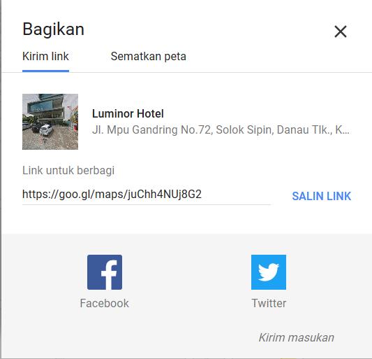 Jendela Baru Google Map Untuk Membagikan Link Peta
