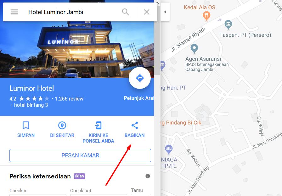 Letak Menu Share Bagikan Pada Google Map