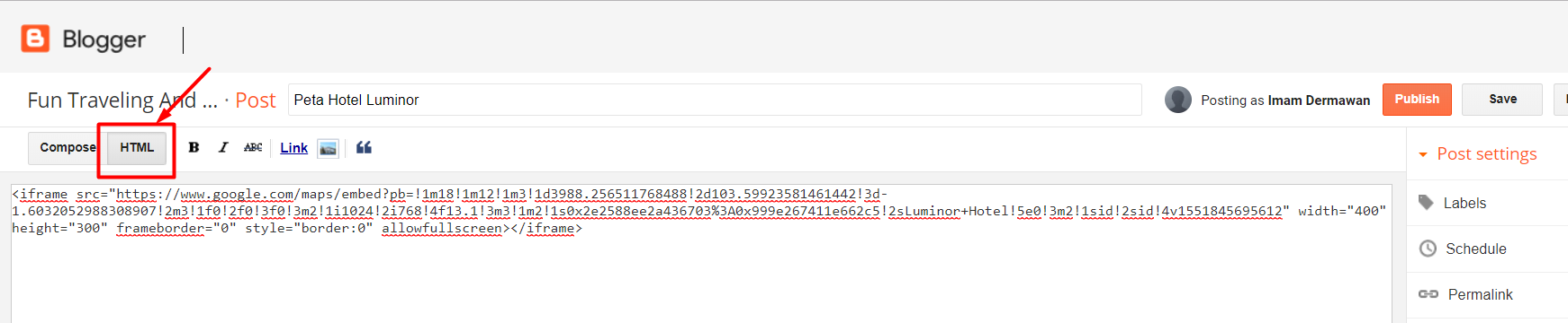 Meletakan Kode HTML google Map Postingan Blogspot