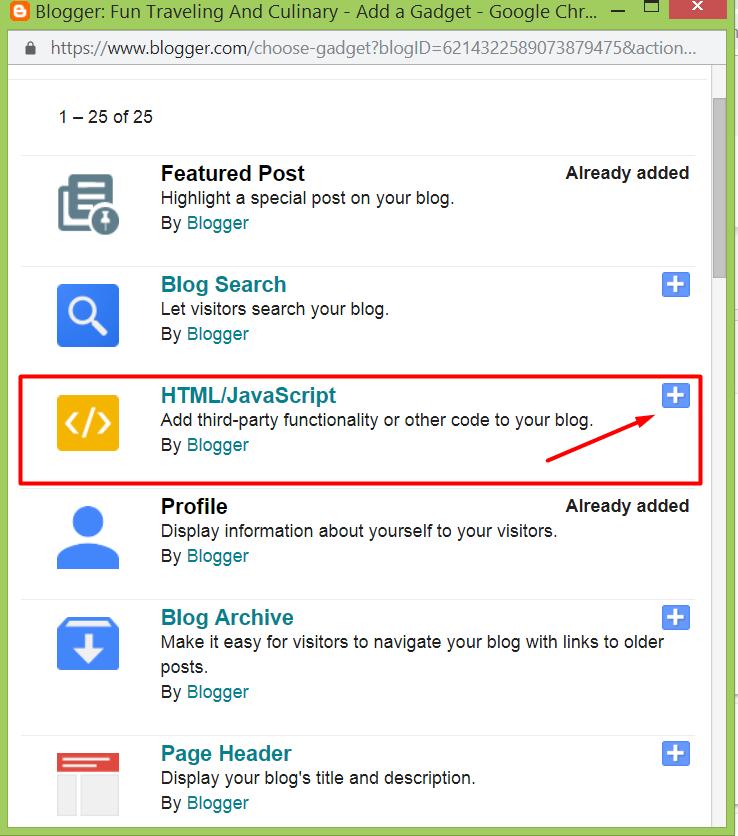Pilih HTML Javascript Pada Gadget