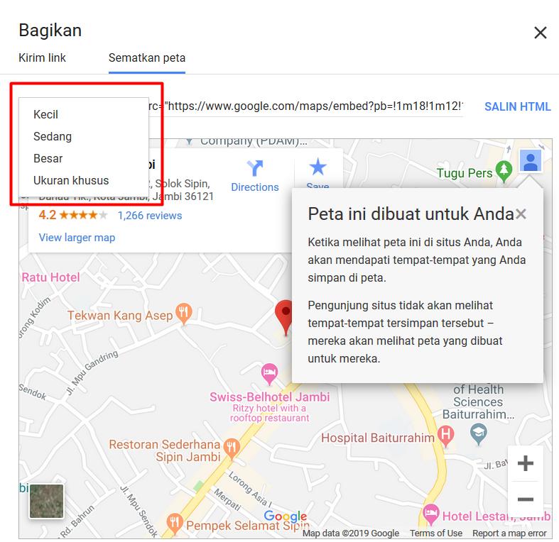 Pilihan TampilanUkuran Google Map