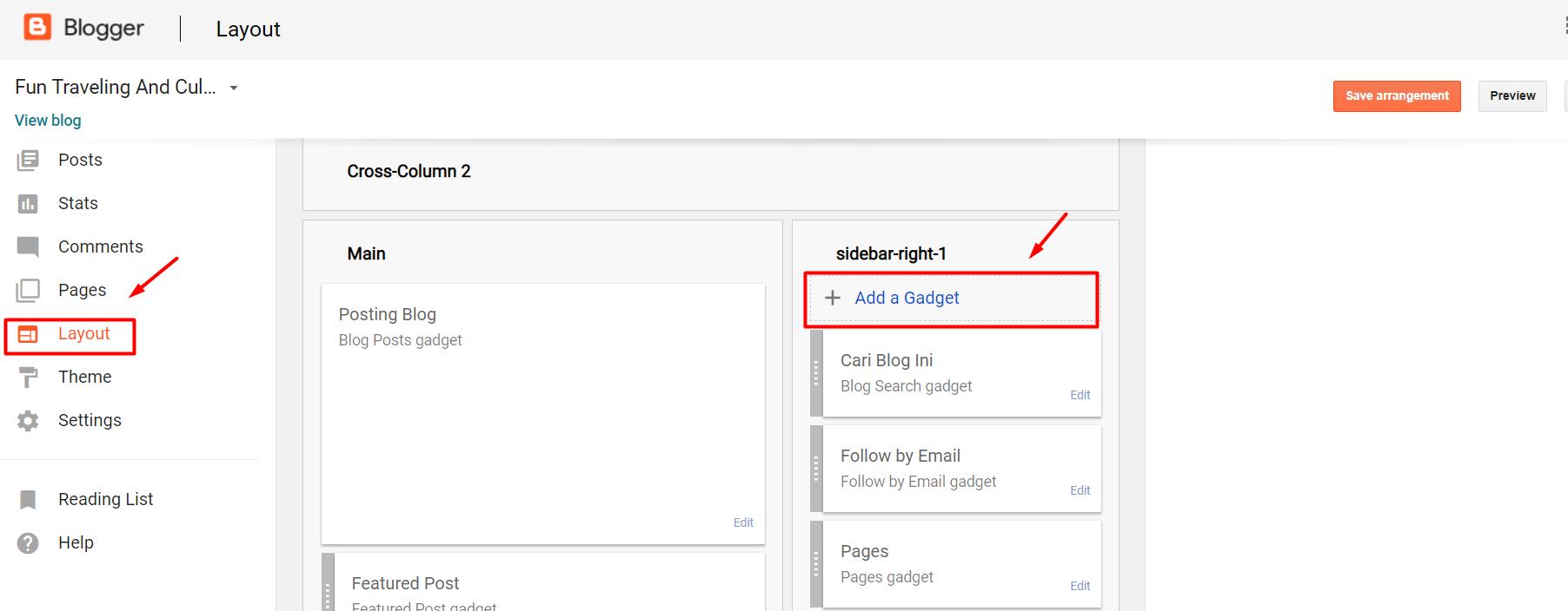 SideBar Gadget Blogger Blogspot