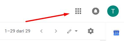 Tampilan Gmail Pojok Kanan Atas